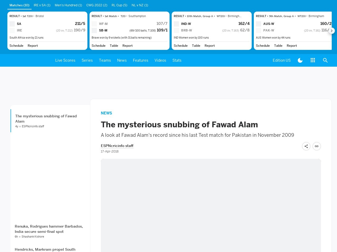 The mysterious snubbing of Fawad Alam