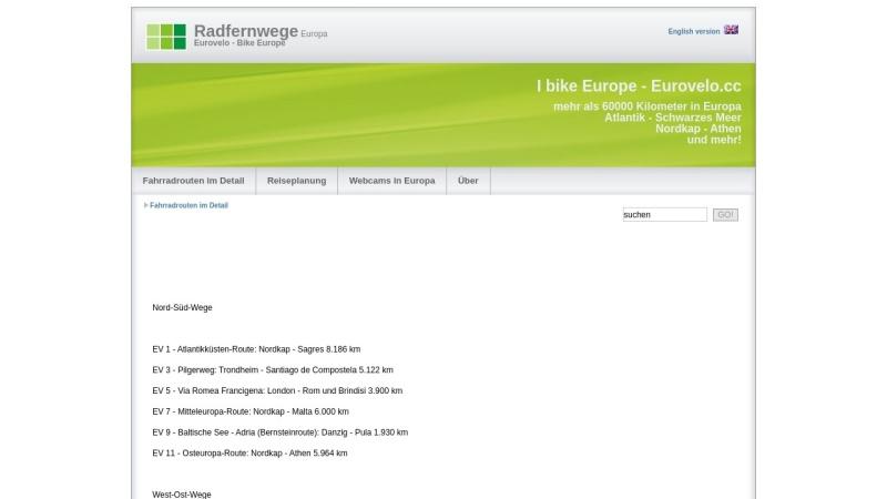 www.eurovelo.cc Vorschau, Radfernwege in Europa