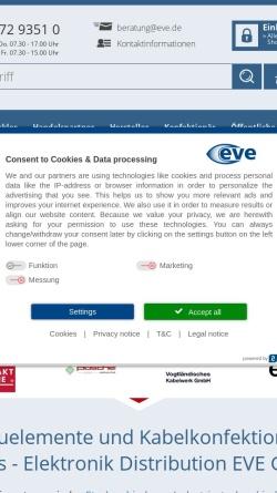 Vorschau der mobilen Webseite www.eve.de, Elektronikvertrieb Emsdetten GmbH