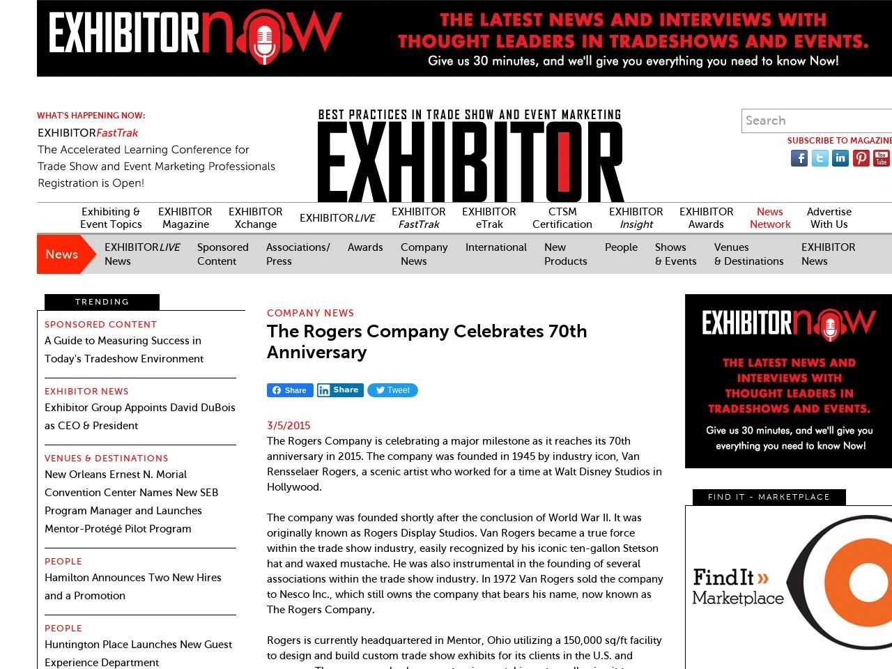 The Rogers Company Celebrates 70th Anniversary