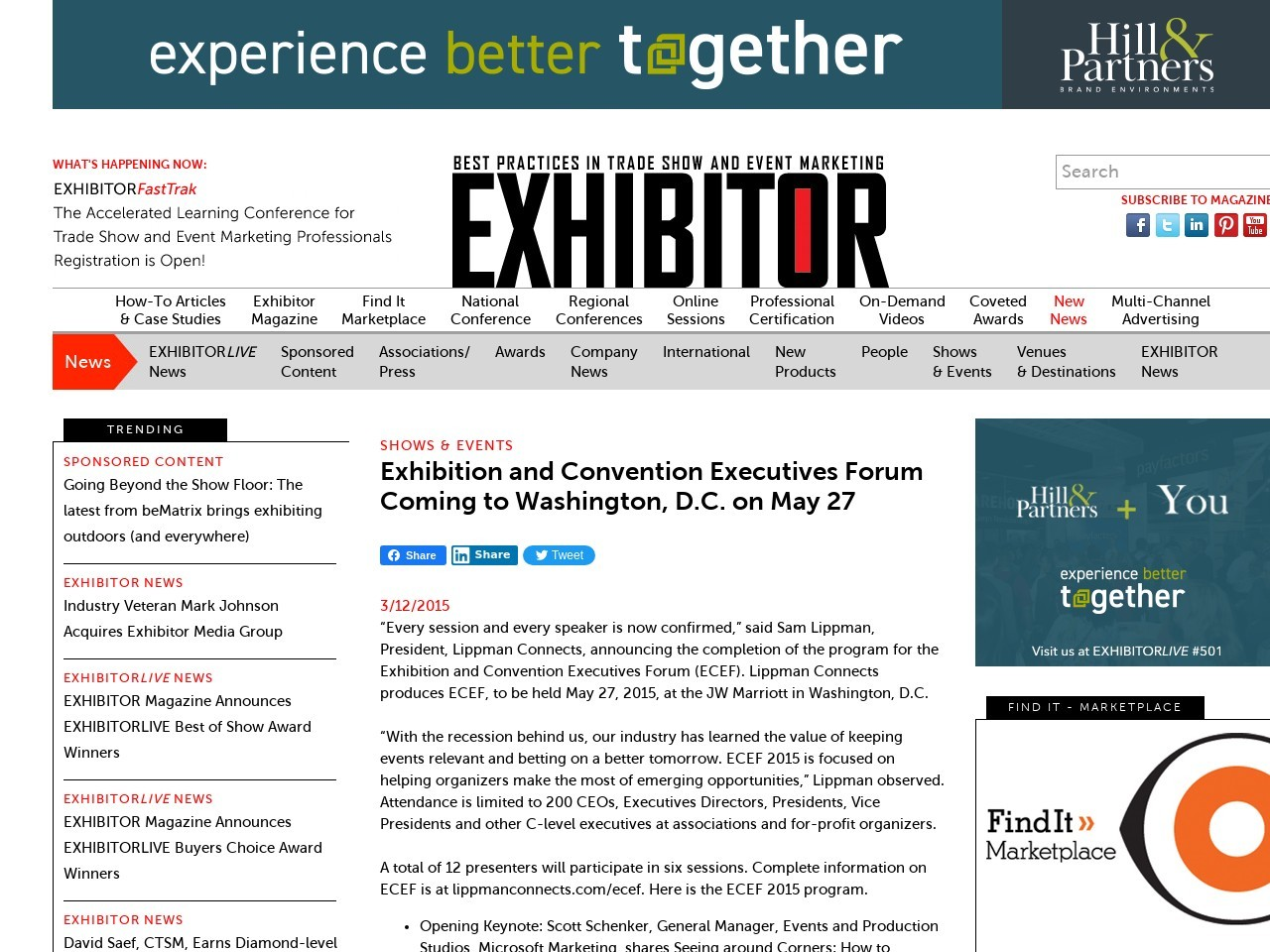 Exhibition and Convention Executives Forum Coming to Washington, DC on …