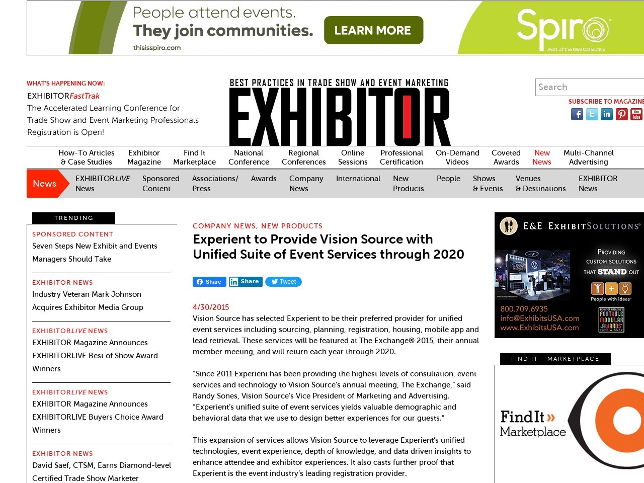 Experient to Provide Vision Source with Unified Suite of Event Services …