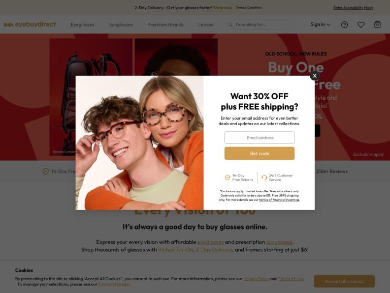 EyeBuyDirect.com screenshot