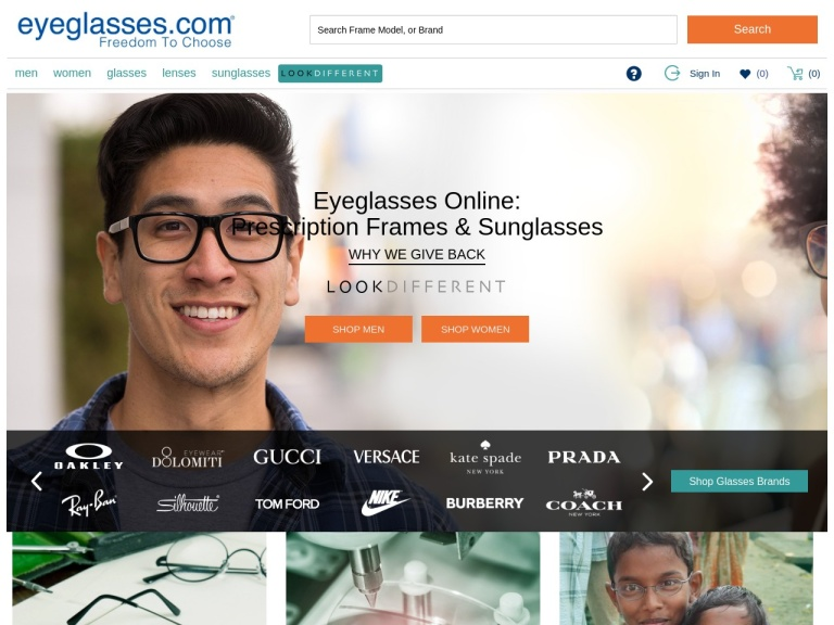Eyeglasses.com screenshot