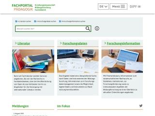 Screenshot der Website fachportal-paedagogik.de