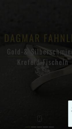 Vorschau der mobilen Webseite www.fahnler.de, Dagmar Fahnler - Gold- und Silberschmiede Krefeld