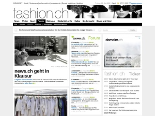 Screenshot der Website fashion.ch