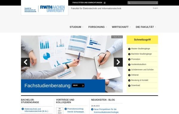 Vorschau von www.fb6.rwth-aachen.de, Fakultät für Elektrotechnik und Informationstechnik der RWTH Aachen