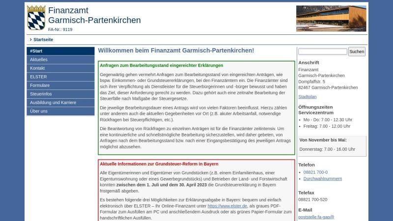 www.finanzamt-garmisch-partenkirchen.de Vorschau, Finanzamt Garmisch-Partenkirchen