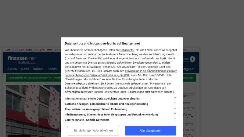 www.finanzen.net Vorschau, Finanzen.net by Smarthouse Media GmbH