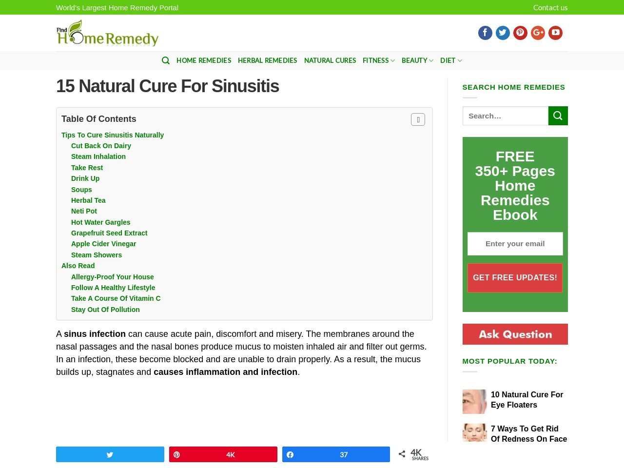 15 Natural Cure For Sinusitis – Home Remedies and