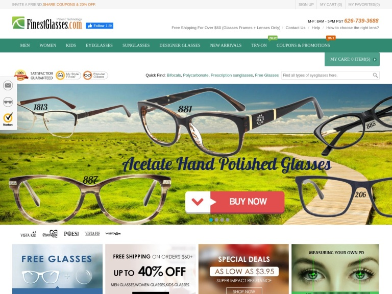 FinestGlasses.com screenshot