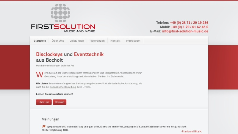 www.first-solution-music.de Vorschau, First Solution Kortenhorn GbR