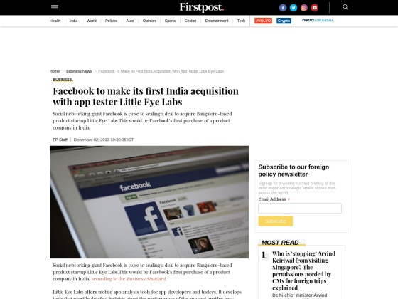 Facebook to make first Indian acquisition - Little Eye Labs