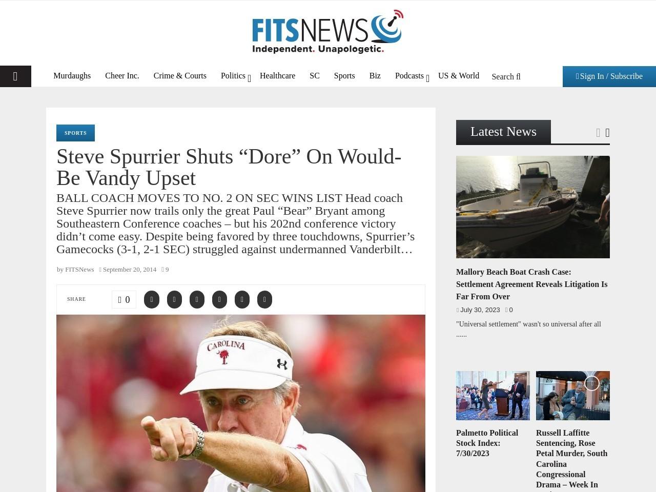 "Steve Spurrier Shuts ""Dore"" On Would-Be Vandy Upset"