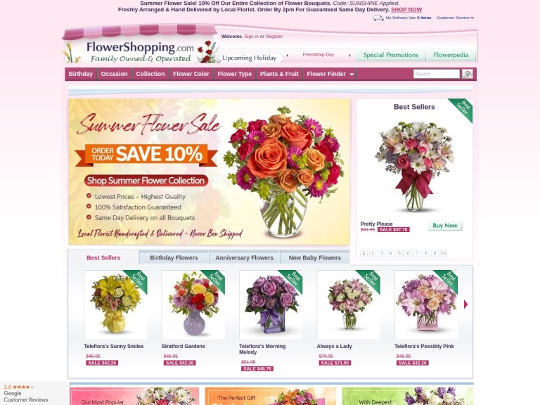 FlowerShopping.com screenshot