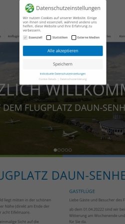 Vorschau der mobilen Webseite www.flugplatz-daun.de, Segelflugverein Vulkaneifel e.V. - Flugplatz Daun