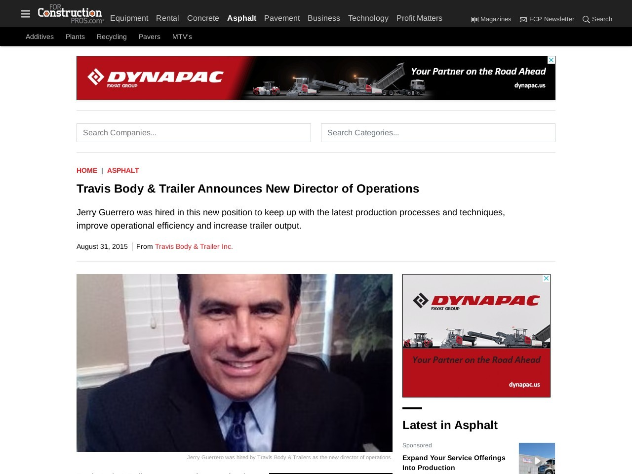 Travis Body & Trailer Announces New Director of Operations