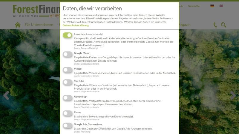 www.forestfinance.de Vorschau, Forest Finance Waldinvestments
