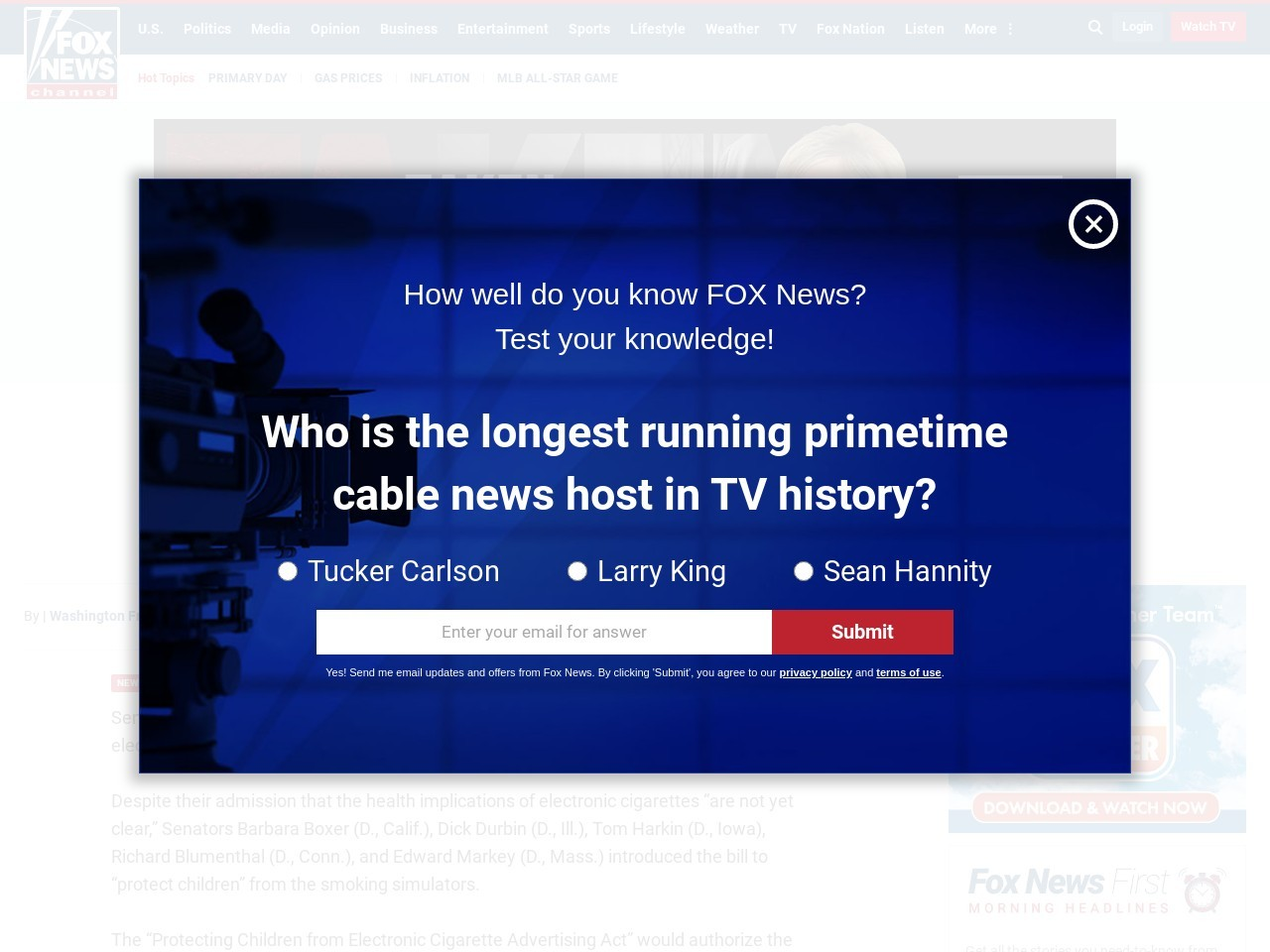 Democrats introduce bill to 'protect children' from electronic cigarettes