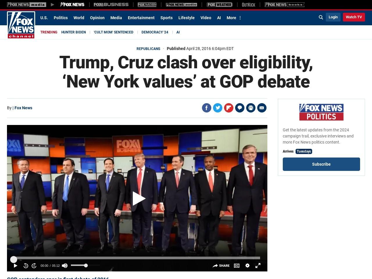 'I WAS BORN HERE'   Trump, Cruz clash over eligibility, 'New York values' at GOP debate