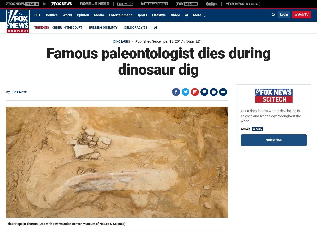 Famous paleontologist dies during dinosaur dig
