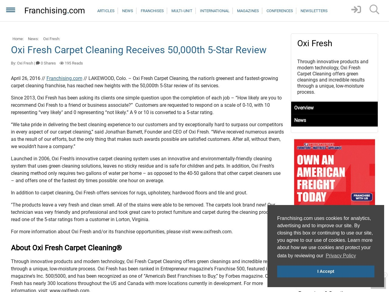 Oxi Fresh Carpet Cleaning Receives 50000th 5-Star Review