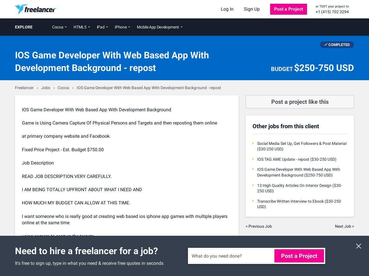 IOS Game Developer With Web Based App With Development …