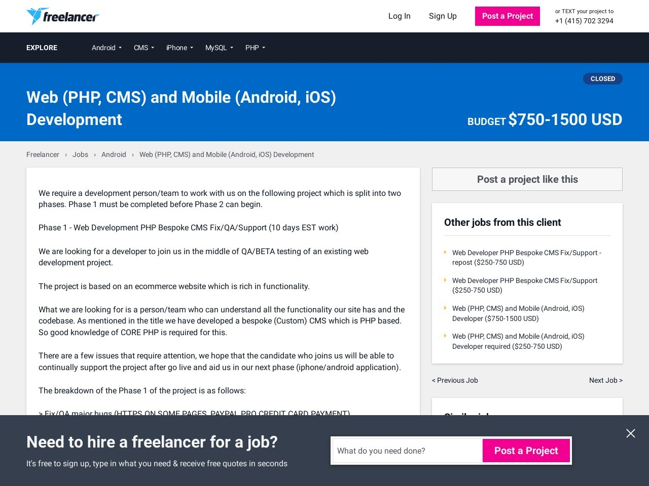 Web (PHP, CMS) and Mobile (Android, iOS) Development | Android …