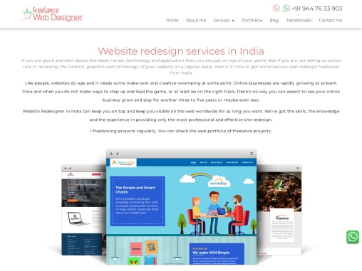 website redesign services   hire freelance web designer