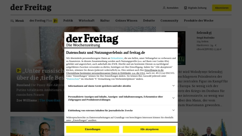www.freitag.de Vorschau, Freitag