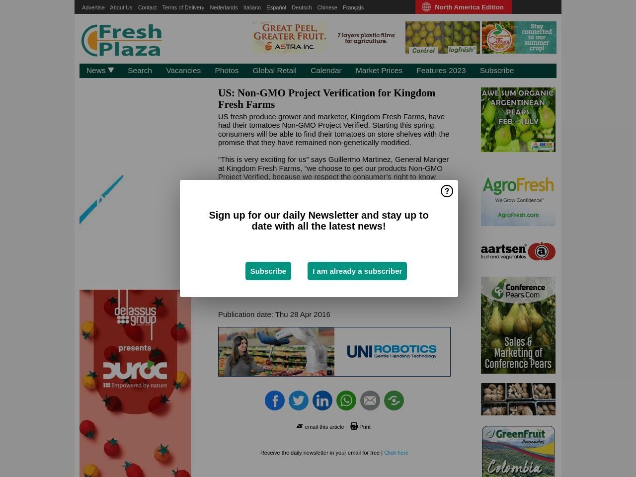 US: Non-GMO Project Verification for Kingdom Fresh Farms