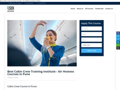 Cabin Crew Training Institutes In Pune