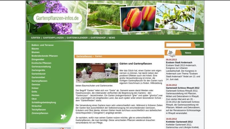 www.gartenpflanzen-infos.de Vorschau, Gartenpflanzen