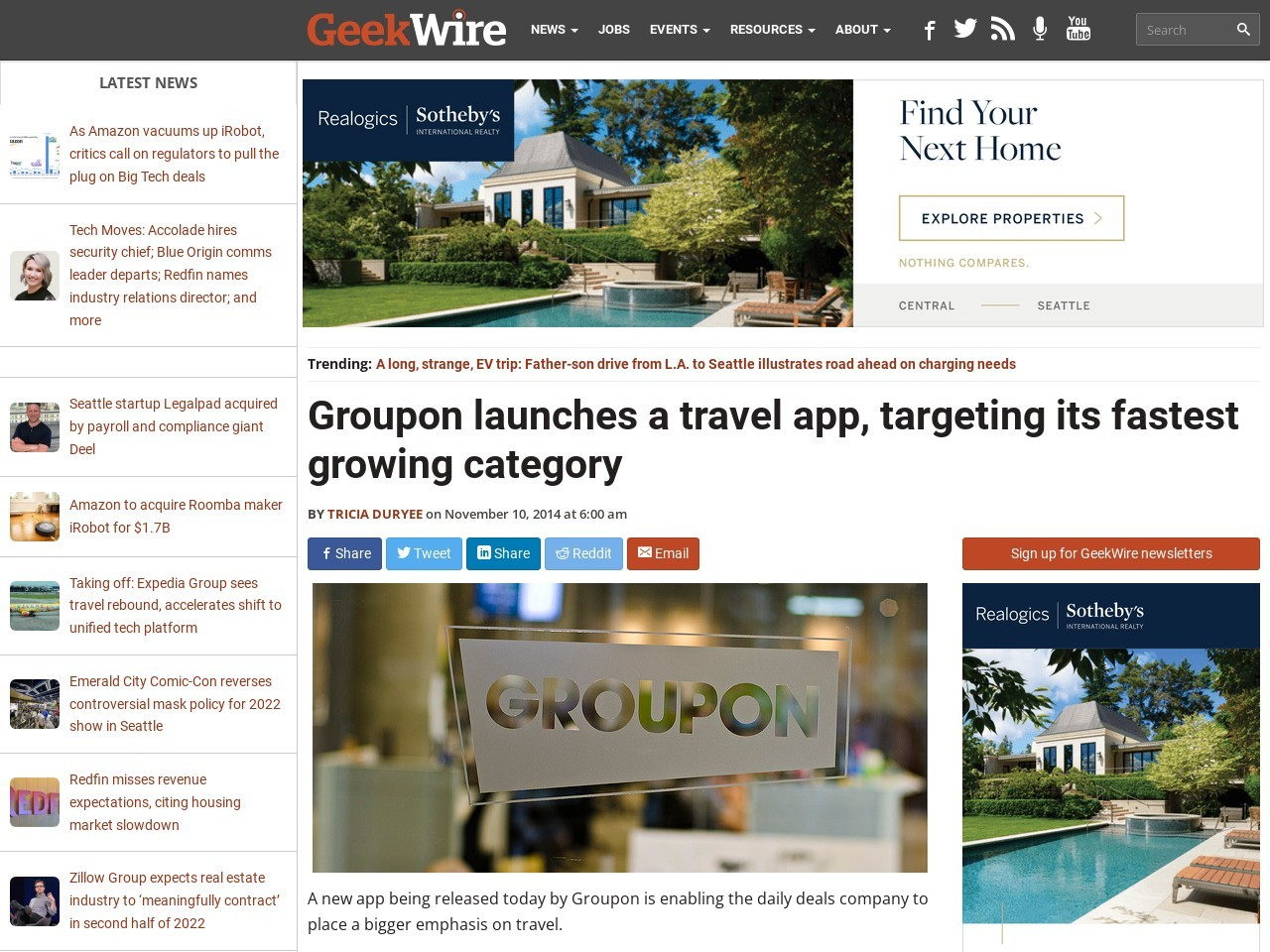 Groupon launches a travel app, targeting its fastest growing …