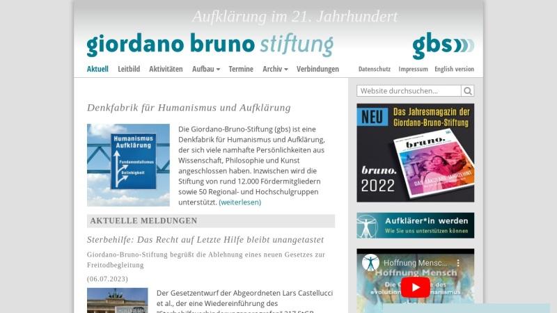 www.giordano-bruno-stiftung.de Vorschau, Giordano-Bruno-Stiftung - Stiftung zur Förderung des evolutionären Humanismus