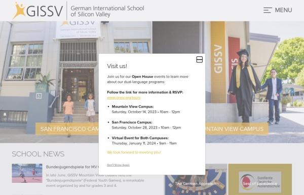Vorschau von www.gissv.org, German International School of Silicon Valley (GISSV), Kalifornien