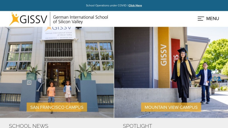 www.gissv.org Vorschau, German International School of Silicon Valley (GISSV), Kalifornien