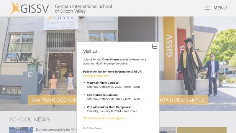 www.gissv.org Vorschau, German International School of Silicon Valley (GISSV), Kalifornien