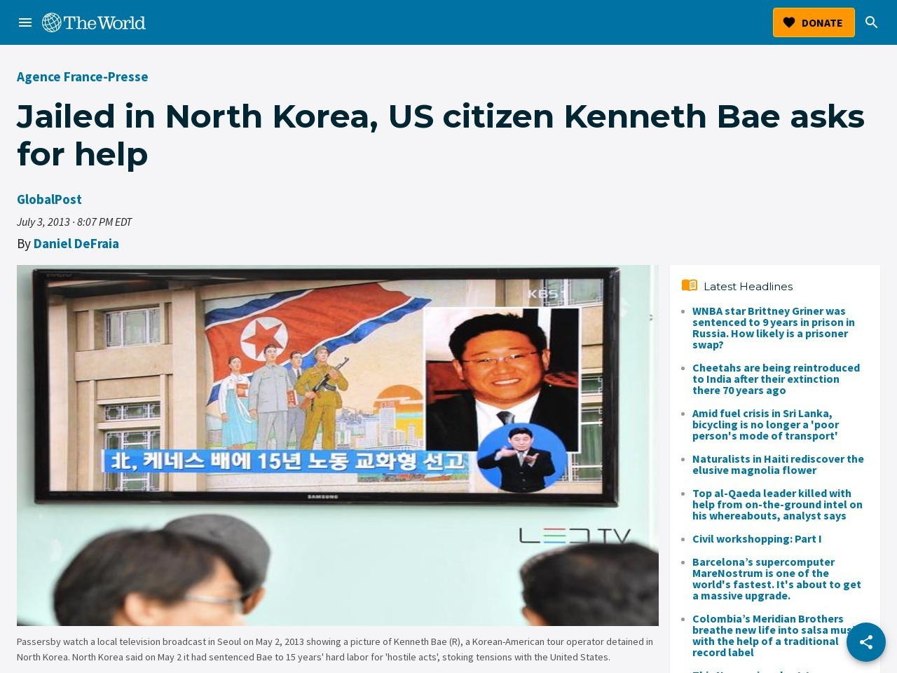 Jailed in North Korea, US citizen Kenneth Bae asks for help