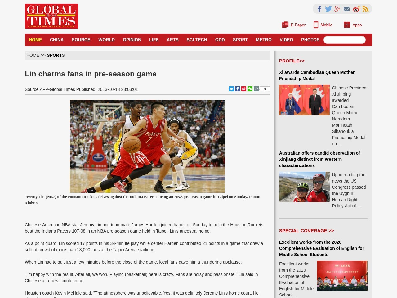 Lin charms fans in pre-season game