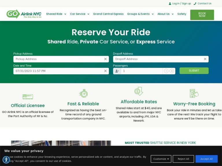 Codice sconto GO Airlink NYC screenshot