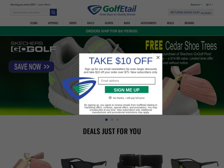 GolfEtail.com screenshot