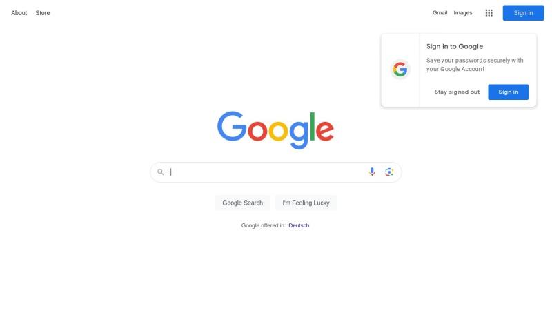 www.google.de Vorschau, Google