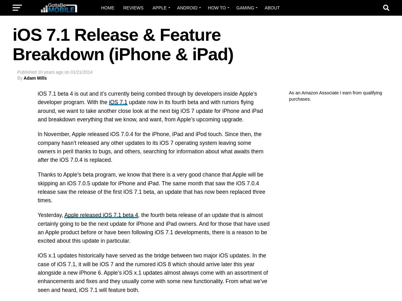 iOS 7.1 Release & Feature Breakdown (iPhone & iPad)