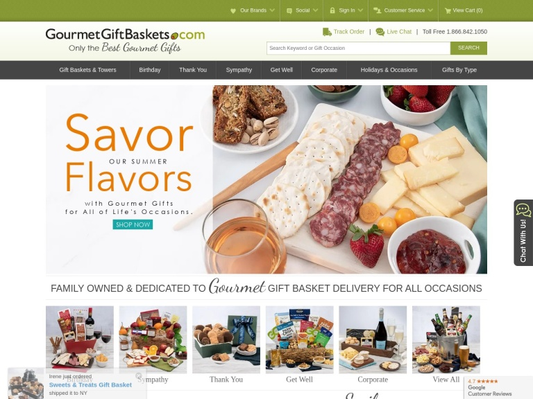 GourmetGiftBaskets.com screenshot