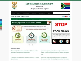 Screenshot for gov.za