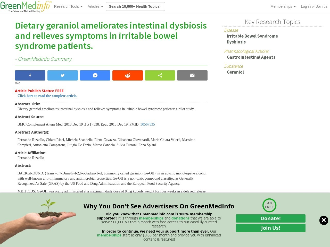 Dietary geraniol ameliorates intestinal dysbiosis and relieves symptoms in irritable bowel syndrome patients.