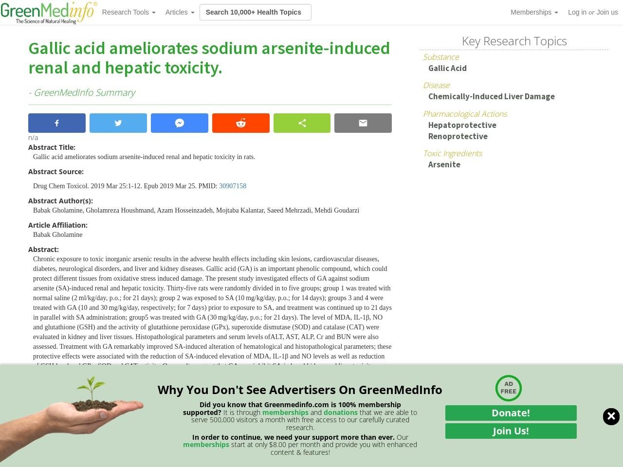 Gallic acid ameliorates sodium arsenite-induced renal and hepatic toxicity.
