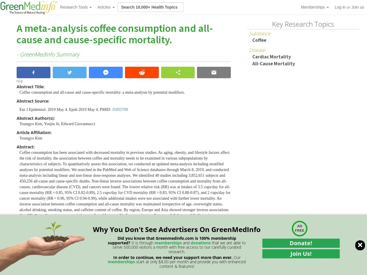 A meta-analysis coffee consumption and all-cause and cause-specific mortality.